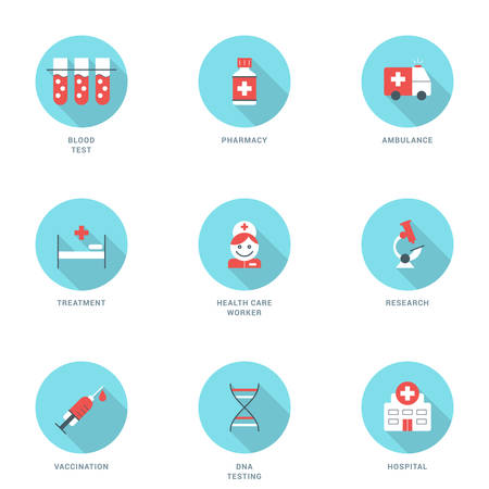 vaccination: Set of Flat Design Medicine Icons With Long Shadow. Blood Test, Pharmacy, Ambulance, Treatment, Health Care Worker, Research, Vaccination, DNA Testing, Hospital. Vector Icons