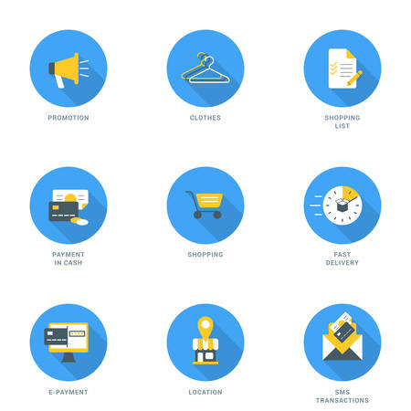 sms payment: Set of Flat Design Business and Shopping Icons With Long Shadow. Promotion, Clothes, Shopping List, Payment in Cash, Shopping, Fast Delivery, E-Payment, Location, SMS Transaction. Vector Icons Illustration