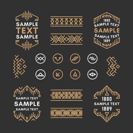 設定 4 ライン アートの装飾の幾何学的なベクトルのフレームと黄金と黒の色の境界線。ベクター ベクター装飾、装飾品ライン飾り、ベクトル、ベク  イラスト・ベクター素材