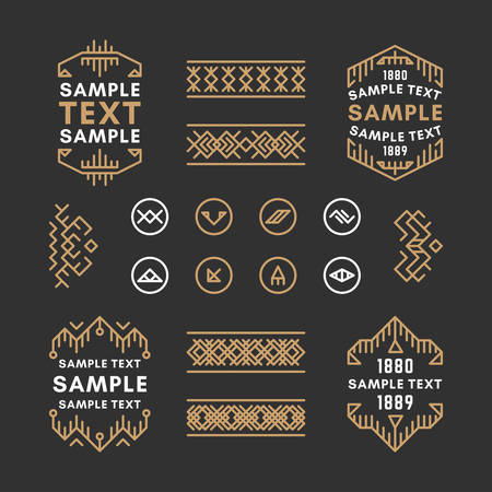 Set of Four Line Art Decorative Geometric Vector Frames and Borders with Golden and Black Colors. Vector Ornaments, Vector Decoration, Line Ornament, Vector , Vector Labels