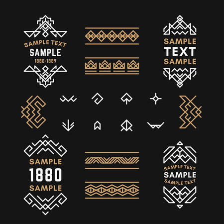 19th century style: Set of Line Art Decorative Geometric Vector Frames and Borders with Golden and Black Colors. Vector Ornaments, Vector Decoration, Line Ornament, Vector , Vector Labels