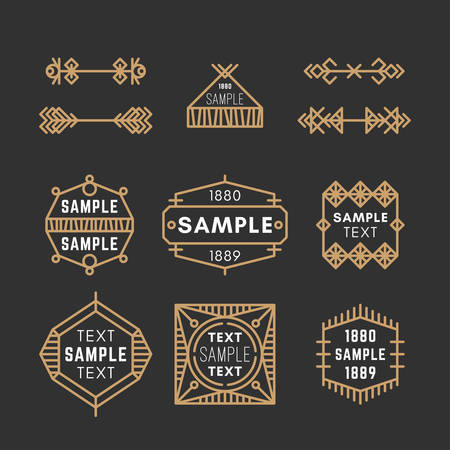 19th century style: Set of Line Art Decorative Geometric Vector Frames and Borders with Golden and Black Colors. Vector Ornaments, Vector Decoration, Line Ornament, Vector , Vector Labels. 19th century petroglyph, viking, slavic style.