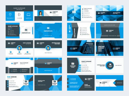 surname: Set of modern creative business card templates. Blue and black colors. Flat style vector illustration. Stationery design