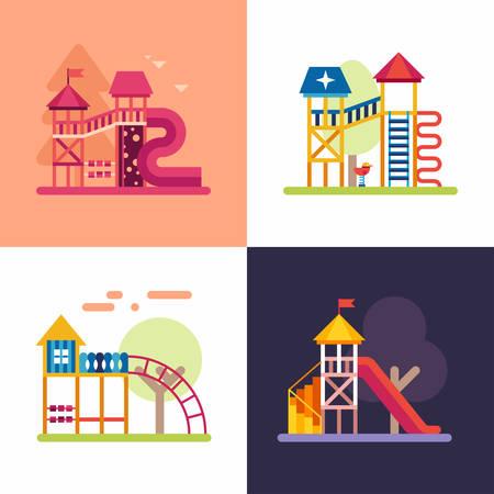 jardin de infantes: Zonas de juegos para niños. Conjunto de cuatro ilustraciones de vectores de colores planos Vectores