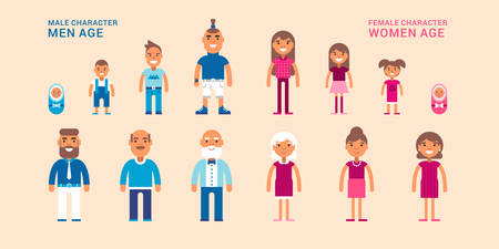 Female and male characters of different ages. Stages of life. Generations.  Colored flat vector illustrations on pink background