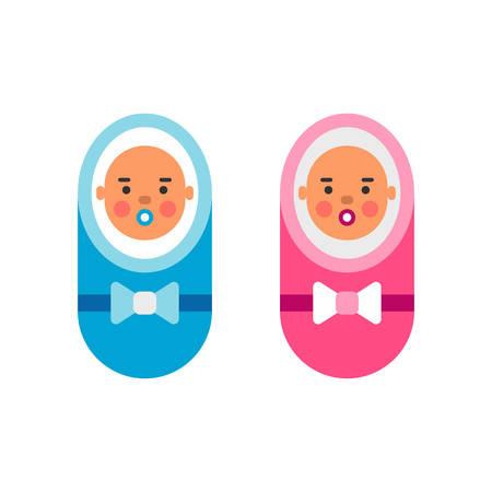 Ilustración vectorial de color plano de la niña en rosa niño y el bebé en azul. Aislado en el fondo blanco