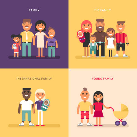 big size: Family concept. Family structure, size, members. A set of four colored flat vector illustrations. Young, big, international family. Illustration