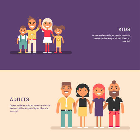 interested: Two couples and four kids. Friendship and gathering. Two horizontal web banners. Colorful flat vector illustrations Illustration