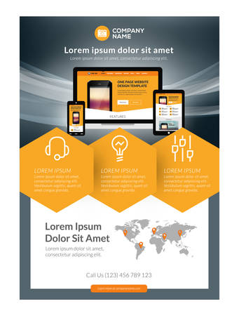 page layout: Vector Business Flyer Design Template for Mobile Application or New Smartphone. Vector Brochure Design Layout Template. Yellow and Black Colors