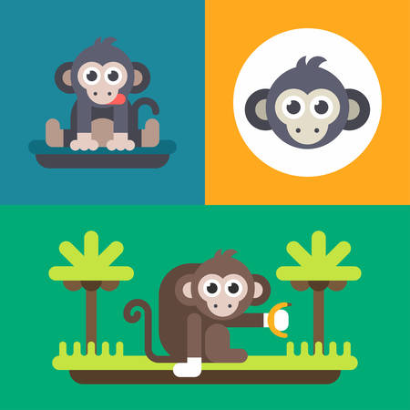 primate: Animals. A set of three illustrations of monkey. Bright, monkey, primate, funny face. Colored flat vector illustration.