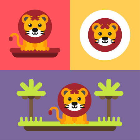mane: A set of three bright illustrations of funny lion cub. Bright, cute baby lion with mane. Colored flat vector illustration. Illustration