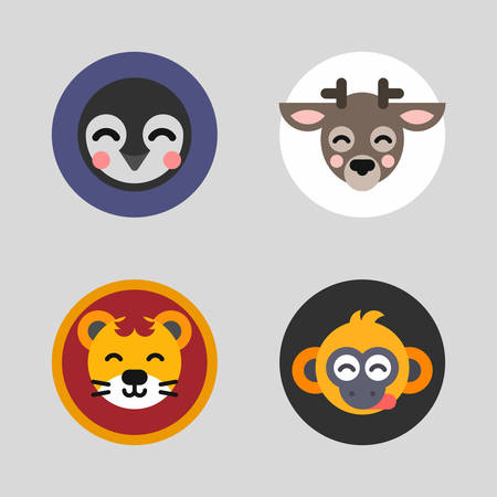 pinguin: A set of four colored flat vector illustrations of animal heads. Pinguin, deer, lion, monkey. Illustration