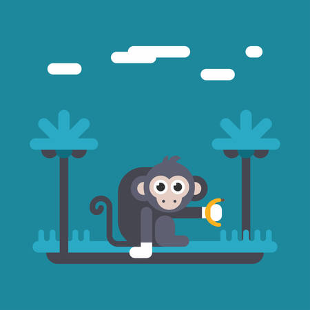 hand colored: Monkey holding banana in hand. Colored flat vector illustration in blue tones