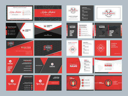 surname: Business card templates. Stationery design vector set. Red and black colors. Flat style vector illustration