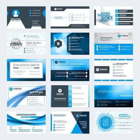 Ensemble de modèles de cartes d'affaires créatives modernes. Les couleurs bleues et noires. Flat illustration vectorielle de style. conception de papeterie