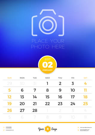 portrait orientation: Wall Calendar Template for 2017 Year. February. Vector Design Template with Place for Photo. Week starts Sunday. Portrait Orientation