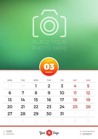 portrait orientation: Wall Calendar Template for 2017 Year. March. Vector Design Template with Place for Photo. Week starts Monday. Portrait Orientation
