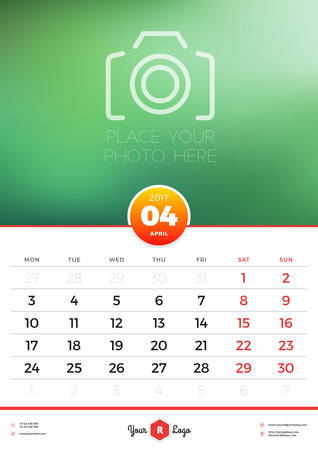 portrait orientation: Wall Calendar Template for 2017 Year. April. Vector Design Template with Place for Photo. Week starts Monday. Portrait Orientation Illustration