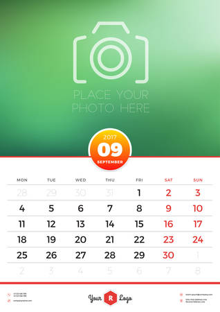 portrait orientation: Wall Calendar Template for 2017 Year. September. Vector Design Template with Place for Photo. Week starts Monday. Portrait Orientation