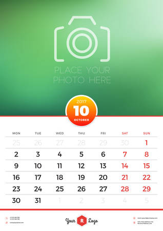 portrait orientation: Wall Calendar Template for 2017 Year. October. Vector Design Template with Place for Photo. Week starts Monday. Portrait Orientation Illustration