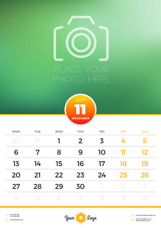 portrait orientation: Wall Calendar Template for 2017 Year. November. Vector Design Template with Place for Photo. Week starts Monday. Portrait Orientation
