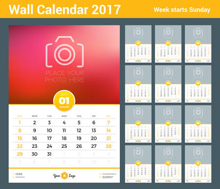 portrait orientation: Wall Calendar Template for 2017 Year. Set of 12 Months. Vector Design Template with Place for Photo. Week starts Sunday. Portrait Orientation