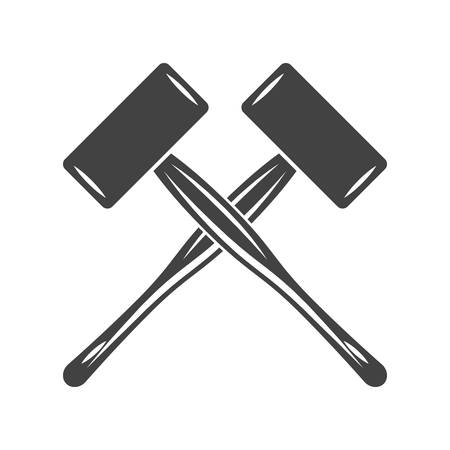 spall: Two crossed big engineers hammers, mallets, spall hammers. Black on white flat vector illustration, logo element isolated on white background