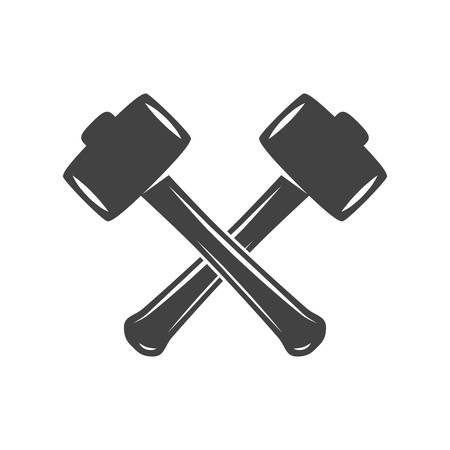 Logo elements. Black and white monochrome flat vector illustrations. Two crossed hammers isolated on white background.