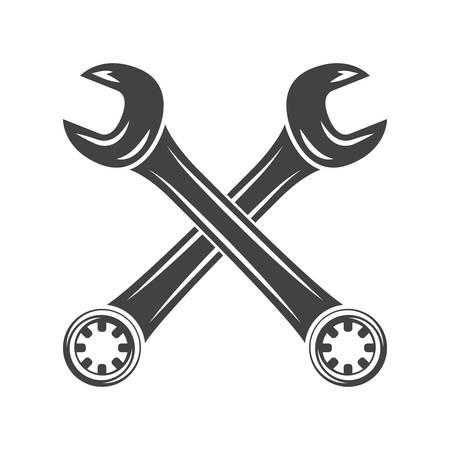 Dos llaves cruzadas. Negro sobre blanco ilustración vectorial plana, logotipo elemento aislado en el fondo blanco Logos