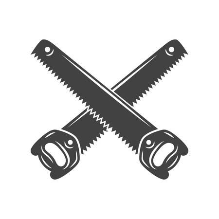 tenon: Two crossed handsaws. Black on white flat vector illustration, logo element isolated on white background Illustration