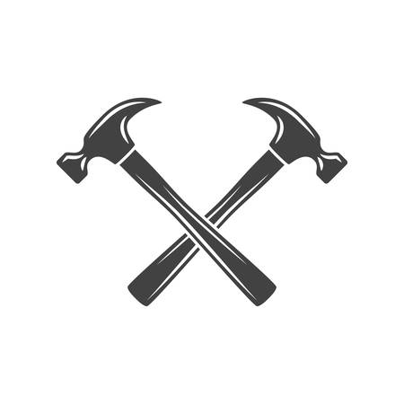 Two crossed hammers. Black on white flat vector illustration, logo element isolated on white background