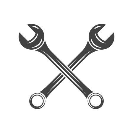 Dos llaves cruzadas. Negro sobre blanco ilustración vectorial plana, elemento aislado en el fondo blanco