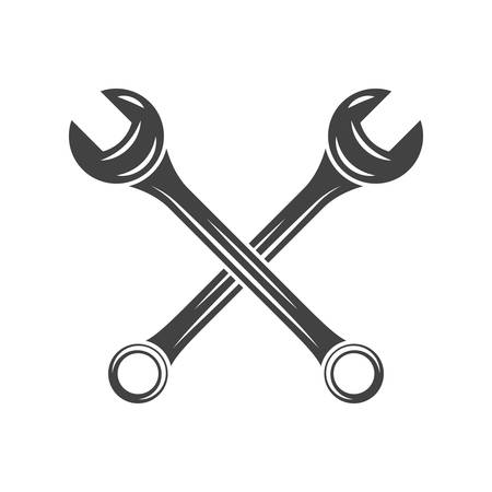 maintain: Two crossed spanners. Black on white flat vector illustration, element isolated on white background