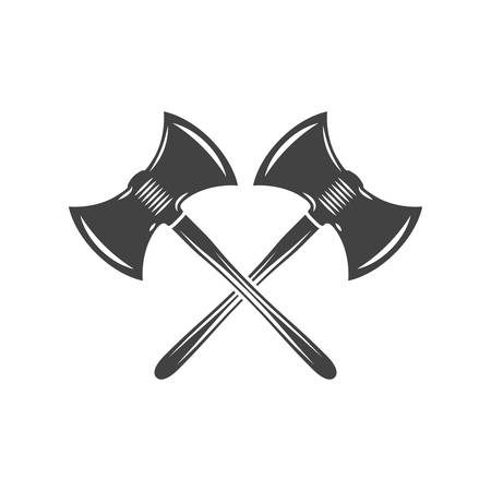 Two crossed battleaxes, battle axes. Black on white flat vector illustration, element isolated on white background