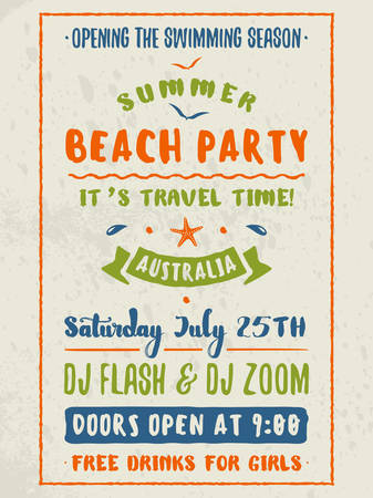 event party: Beach Party Flyer or Poster. Night Club Event. Summer Night Party. Vector Flyer Design Template. Colorful Typographic Poster with Light Background