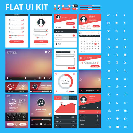 scrollbar: Set of flat design UI elements for website and mobile applications. Vector illustration. Icons, buttons, web elements Illustration