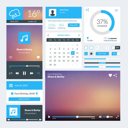 Set of flat design UI elements for website and mobile applications. Vector illustration. Icons, buttons, web elements Illustration