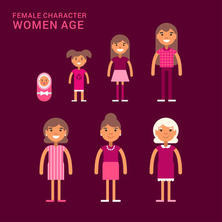 mixed family: Women age. Life cycle. Different generations of women. From a cradle to a grave. Flat vector illustration