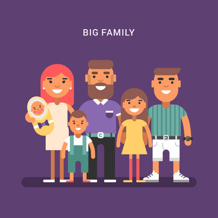 big family: Big family of 6 members, parents and four children of different age. Colred flat vector illustration on violet background