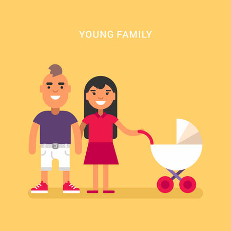 babby: Young family with a babby carriage. Colored flat vector illustration on yellow background