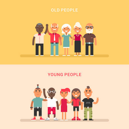 oldman: A group of young and a group of elderly people. Two horizontal flat vector illustrations.