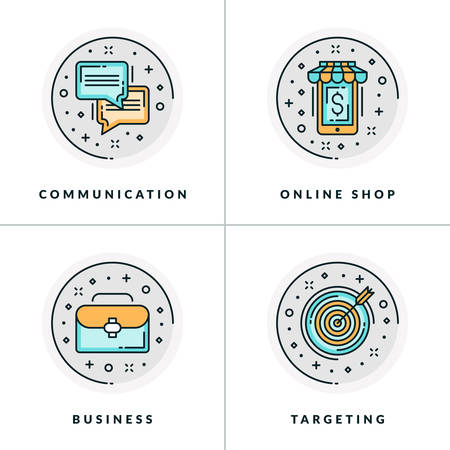 webshop: A set of four icons on business issues, communication, online shopping and targeting. Colored in gray, orange and blue flat vector illustrations.
