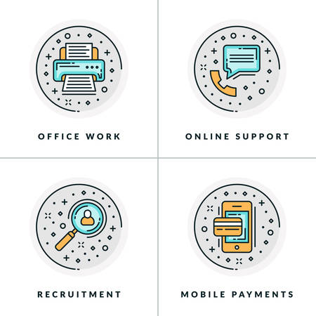 Office work, online support, recruitment, online payments. A set of four colored in gray, orange and blue flat vector illustrations, circle icons.