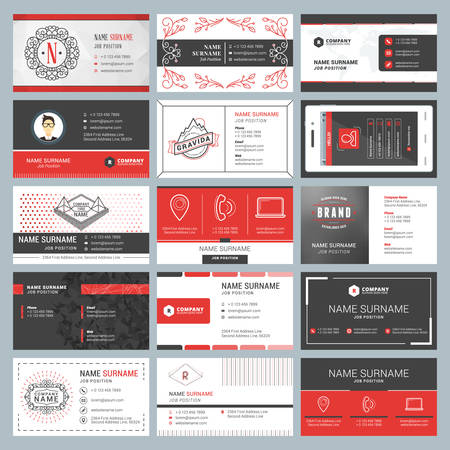 brand position: Business card templates. Stationery design vector set. Red and black colors. Flat style vector illustration