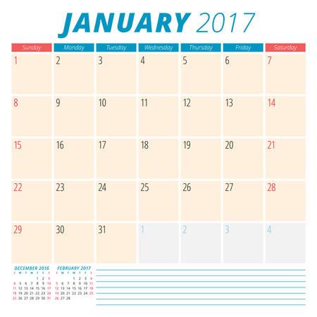 meses del año: De enero de 2017. Calendario del planificador para el Año 2017. La semana comienza el domingo. Diseño de papelería. 3 Meses En la página. Plantilla Calendario del vector