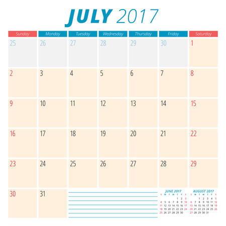 months of the year: July 2017. Calendar Planner for 2017 Year. Week Starts Sunday. Stationery Design. 3 Months on Page. Vector Calendar Template