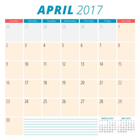 meses del año: Abril de 2017. Calendario del planificador para el Año 2017. La semana comienza el domingo. Diseño de papelería. 3 Meses En la página. Plantilla Calendario del vector
