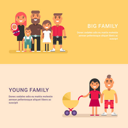 big family: Big family and young family. Colored web banners on yellow and pink background Illustration