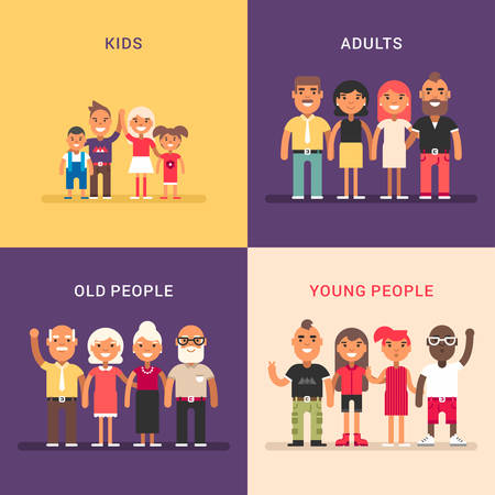 A set of four colored flat vector illustrations. Kids, adults, old people, young people. Vectores