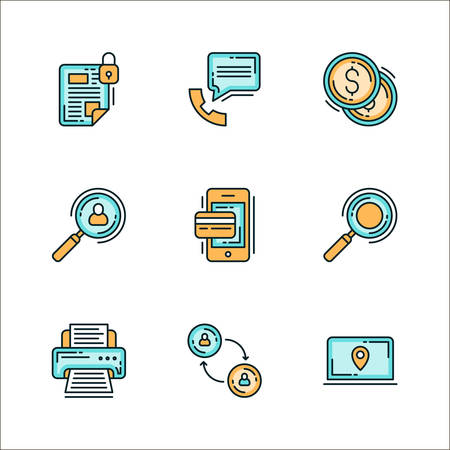 recruiting: Icons with business related processes. Colored flat vector illustration. Icons isolated on white background. Keeping confidential info, communication, money, finance, recruiting, search, printing, communication, finding employees. HR Illustration